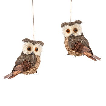 Owl Hanging Decoration Brown, 12 cm, set of 2 pcs Dekoracje wnętrz