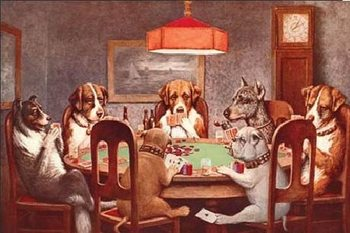 DOGS PLAYING POKER Metalplanche