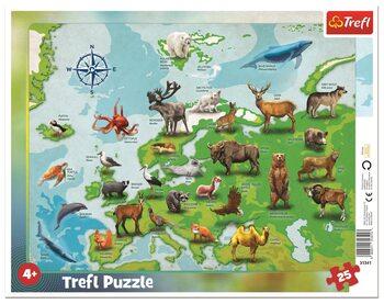 Puzzle Mapa Evropy se zvířátky (EN/PL)