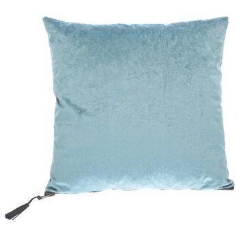 Polštář Srst světle modrý s třásní na zipu