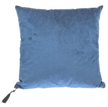 Polštář Srst tmavě modrý s třásní na zipu