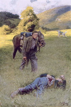 Konsttryck A Lonely Duel in the Middle of a Great Sunny Field, illustration from 'Rowand' by William Gilmore Beymer, pub. in Harper's Magazine, June 1909