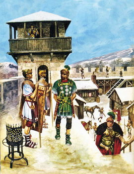 Konsttryck A Roman army fort in Britain