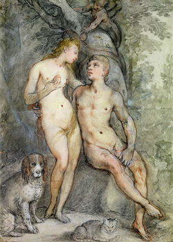 Konsttryck Adam and Eve