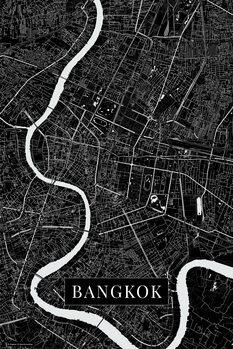 Karta över Bangkok black