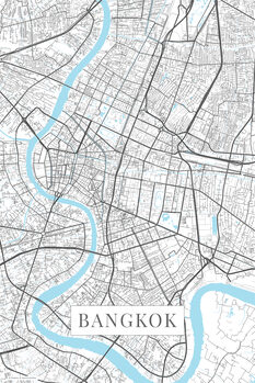 Karta över Bangkok white