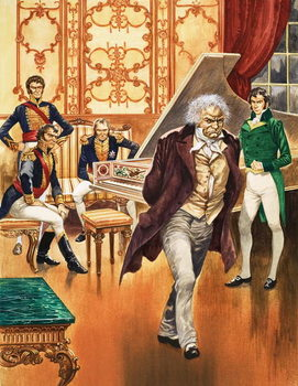 Konsttryck Beethoven storms out of the music room