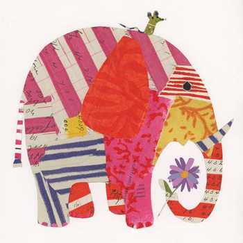 Konsttryck Big Elephant,Little Mouse, 2014,collage