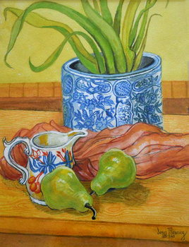 Konsttryck Blue and White Pot, Jug and Pears, 2006