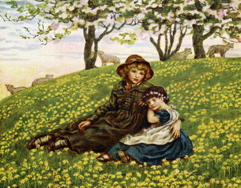 Konsttryck 'Brother and sister'  by Kate Greenaway.