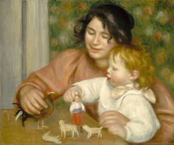 Konsttryck Child with Toys, Gabrielle and the Artist's son, Jean, 1895-96