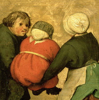 Konsttryck Children's Games (Kinderspiele): detail of a child carried by two others, 1560 (oil on panel)