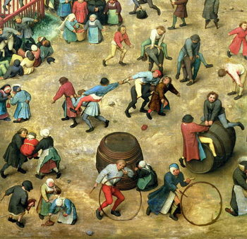 Konsttryck Children's Games (Kinderspiele): detail of bottom section showing various games, 1560 (oil on panel)