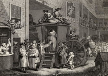 Konsttryck Country Inn Yard, engraved by Timothy Engleheart (1803-79) from 'The Works of Hogarth', published 1833