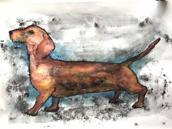 Konsttryck Dachshund 2018 ink and watercolour