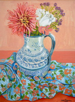 Konsttryck Dahlias, Roses and Michaelmas Daisies,2000,