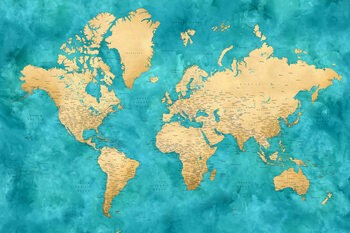 Illustration Detailed world map with cities in gold and teal watercolor, Lexy