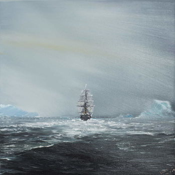 Konsttryck Discovery en route to Antarctica, 2014,