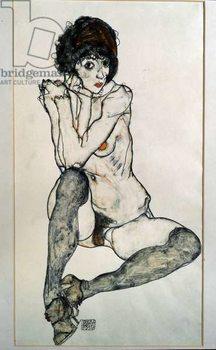 Konsttryck Female naked sitting. Drawing by Egon Schiele , 1914. Black chalk and watercolor on paper. Dim: 48,3x32cm. Vienna, Graphische Sammlung Albertina