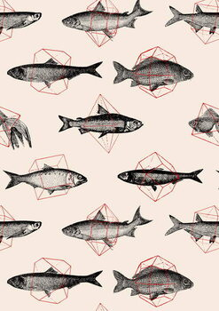 Konsttryck Fishes in Geometrics