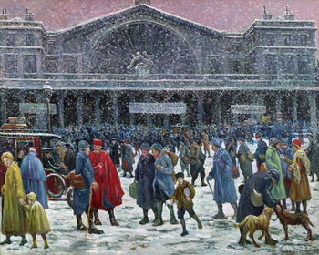 Konsttryck Gare de l'Est Under Snow, 1917