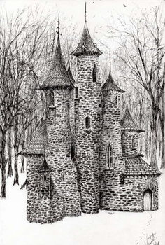 Konsttryck Gatehouse of The Castle in the forest of Findhorn, 2006,