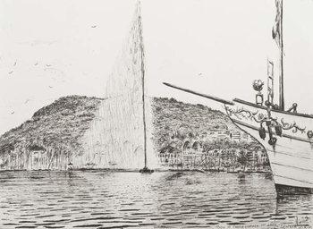 Konsttryck Geneva fountain and bow of pleasure cruiser, 2011,