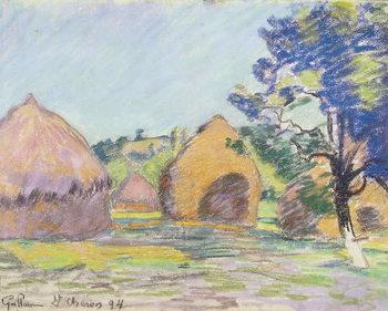 Konsttryck Haystacks at Saint-Cheron