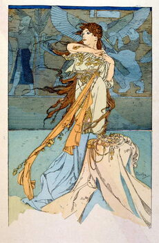Konsttryck Illustration by Alphonse Mucha from Rama a poem in three acts by Paul Verola. ca.1898. Mucha . was a Czech Art Nouveau painter