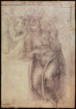 Konsttryck Inv.1895-9-15-516.recto (w.72) Study for the Annunciation , 1547