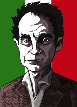 Konsttryck Italo Calvino, Italian author , colour 'graphic' caricature, 2004 by Neale Osborne