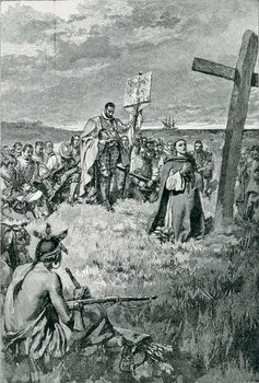 Konsttryck Jacques Cartier (1491-1557) Setting up a Cross at Gaspe, illustration from 'The French Voyageurs' by Thomas Wentworth Higginson, pub. in Harper's Magazine, 1883