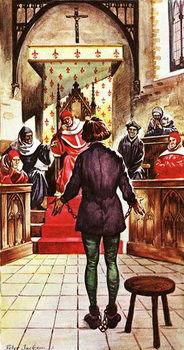Konsttryck Joan of Arc being tried by a church court
