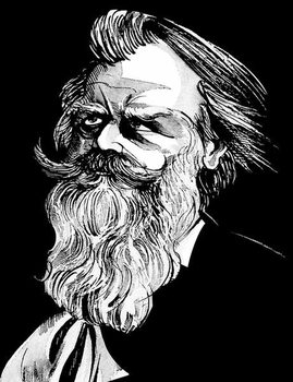 Konsttryck Johannes Brahms, German composer , grey tone watercolour caricature, 1996 by Neale Osborne