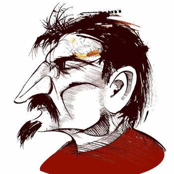 Konsttryck Lev Trotsky, Russian revolutionary , sepia line caricature