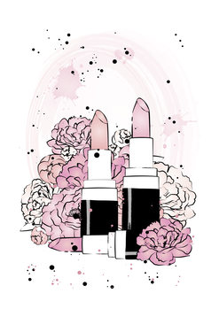 Illustration Lipstick Peonies