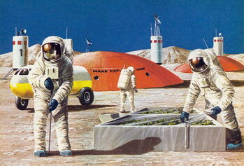 Konsttryck Men working on the planet Mars, as imagined in the 1970s