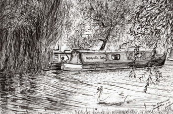 Konsttryck Narrow boats Cambridge, 2005,