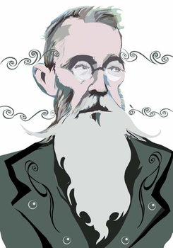 Konsttryck Nikolai Rimsky-Korsakov Russian composer , colour 'graphic' version of file image, 2006/2010 by Neale Osborne