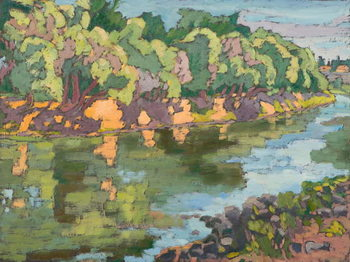 Konsttryck On the Sunny Side of River Koros,  oil on board