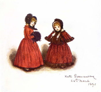 Konsttryck 'Out for a walk'  by Kate Greenaway.