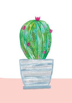 Illustration Painted cactus in blue stripe plant pot