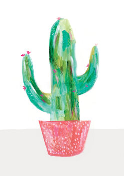 Illustration Painted cactus in coral plant pot