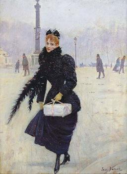 Konsttryck Parisian woman in the Place de la Concorde, c.1890
