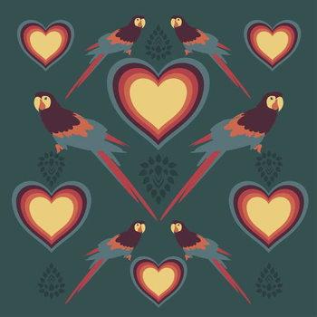 Konsttryck Parrot Love