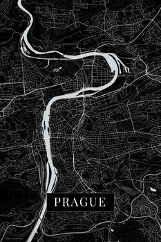 Karta över Prague black