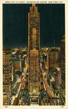 Konsttryck Radio City at night, Rockefeller Center, New York City, USA