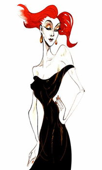 Konsttryck Red-haired model in a black dress