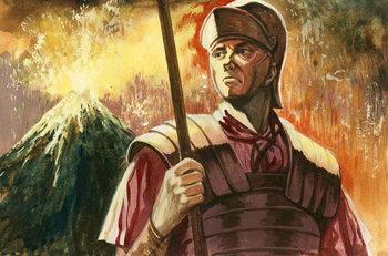 Konsttryck Roman soldier with Vesuvius erupting behind