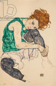 Konsttryck Seated Woman with Bent Knees, 1917